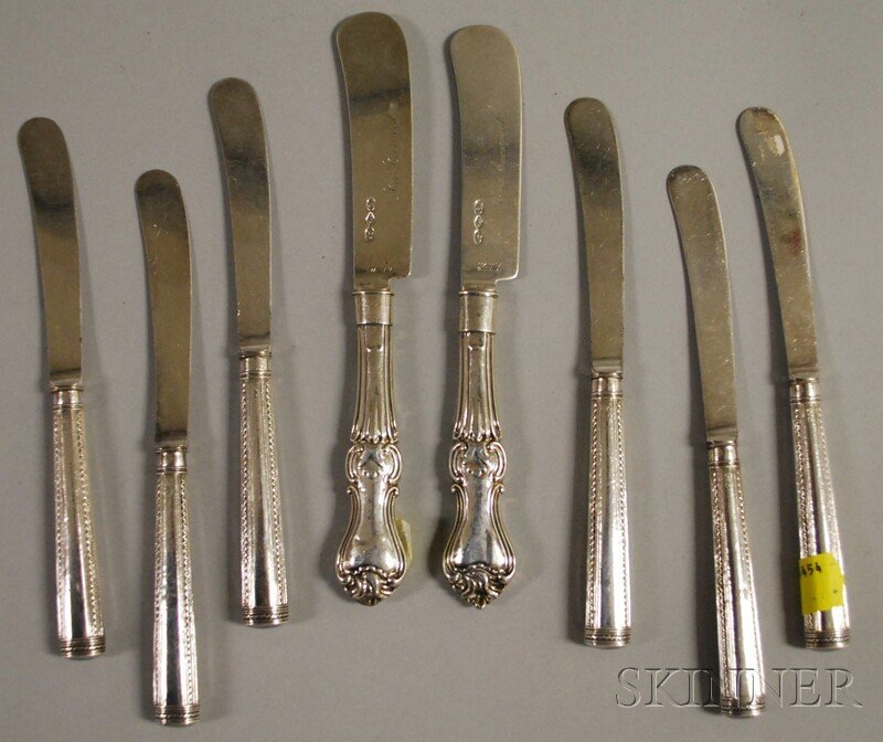 38: Eight Sterling-handled Knives, two master butter kn