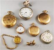 Four Pocket Watches, a coin silver Hampden, two go