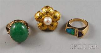 298 Three 14kt Gold Gemset Rings a gold and cultured