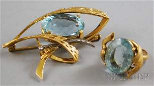 360 Two 18kt Gold and Aquamarine Items a gold aquama
