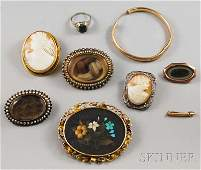 378: Small Group of Antique Jewelry, including three mo