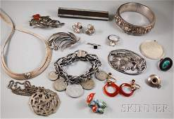 431: Small Group of Mostly Silver Jewelry, an Italian w
