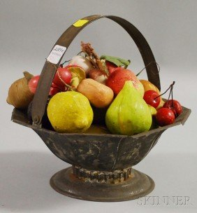501: Group of Painted Carved Stone Fruit in a Tin Foote