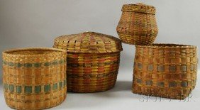Four Paint-decorated Woven Splint Baskets, Two Wit
