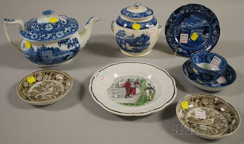 504: Seven Transfer-decorated Pottery Items, a scenic t