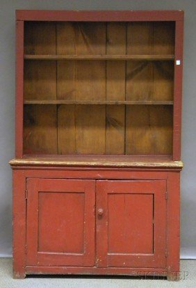 Country Red-painted Wood Step-back Cupboard, Ht. 6