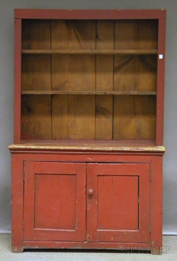505: Country Red-painted Wood Step-back Cupboard, ht. 6