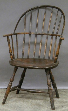 507: Black-painted Windsor Sack-back Armchair, (pieced)