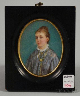 Framed Painted Portrait Miniature Of A Young Woman