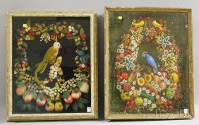 512: Two Parrot and Wreath of Fruit Shadow Boxes, a woo
