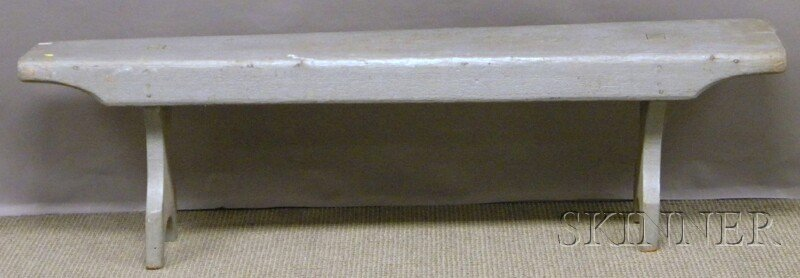 514: Gray-painted Wood Bucket Bench, lg. 60 3/4 in.  Pr