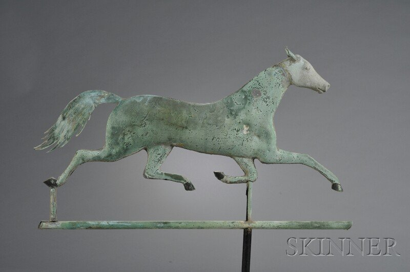 519: Patinated Molded Copper and Cast Zinc Running Hors