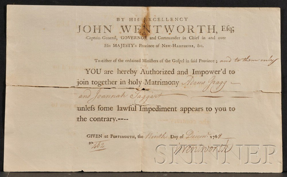 523: (New Hampshire, Colonial), Wentworth, John (1719-1