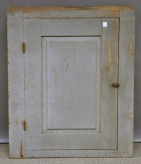 Gray-painted Pine Wall Cupboard With Paneled Door,