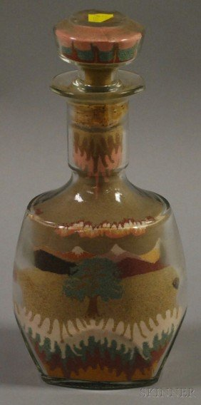 Sand Picture In A Glass Bottle, Depicting A Landsc