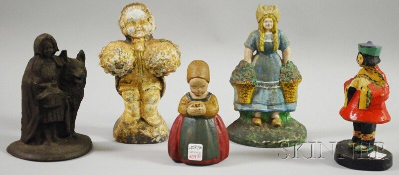 609: Five Painted Cast Iron Figural Doorstops, includin