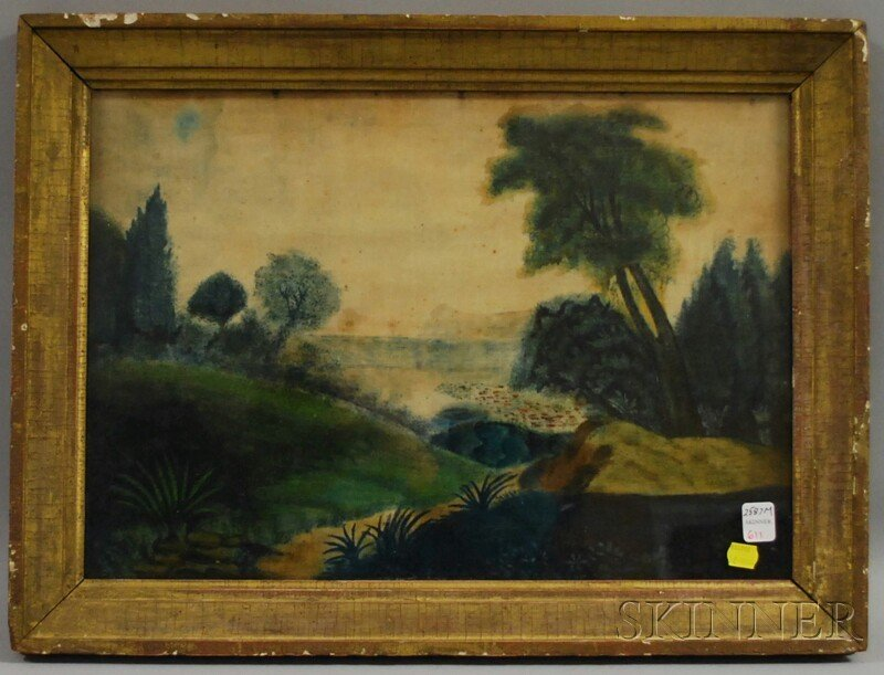 611: 19th Century American School Painting on Velvet De