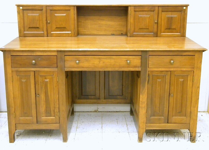 744: Large Walnut, Pine, and Cherry Plantation Desk, in