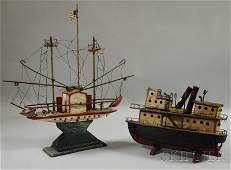 748 Two Folk Painted Carved Wood and Metal Boat Models