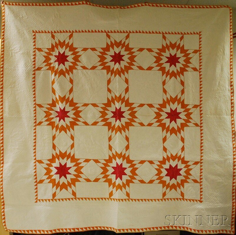 984: Hand-stitched Pieced Cotton Variable Star Pattern