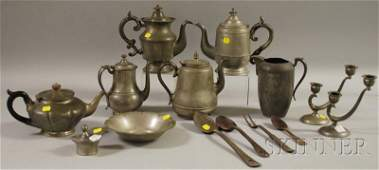 1175 Eleven Pieces Pewter and Four Metal Cooking Utens