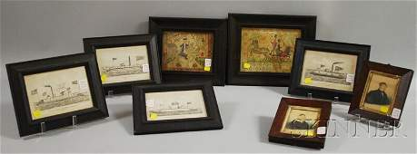 1240: Eight Small Framed 19th Century and Decorative Wo
