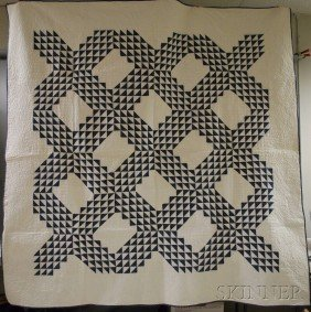 1351: Two Blue and White Machine and Hand-stitched Piec