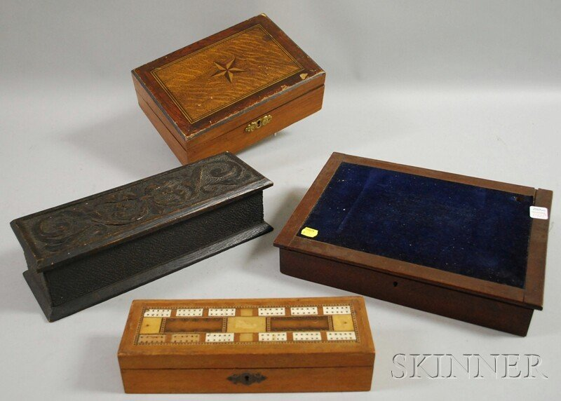 1421: Four Assorted Wooden Boxes, a chip-carved oak, a