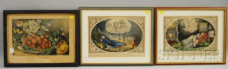 1592: Three Framed Currier & Ives Hand-colored Lithogra