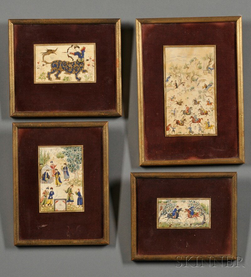 Four Persian Miniatures, Iran, 19th century, painted on