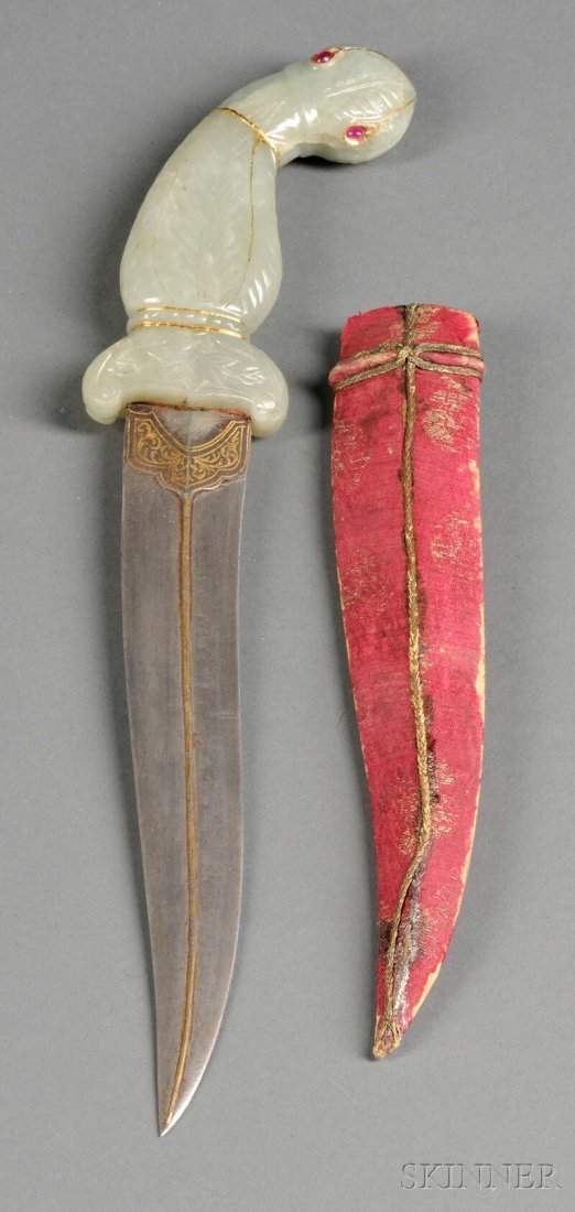 Jade-handled Dagger with Scabbard, India, 19th/20th cen