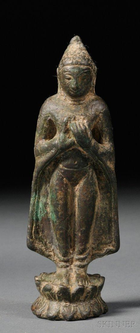 Bronze Buddha, Burma, 12th century, depicted standing o