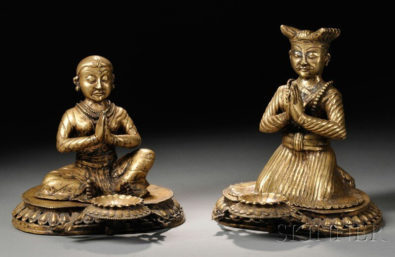 Two Nepalese Gilt-bronze Donor Figures, 18th century, i