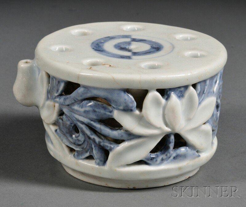 Blue and White Water Dropper, Korea, 20th century, roun
