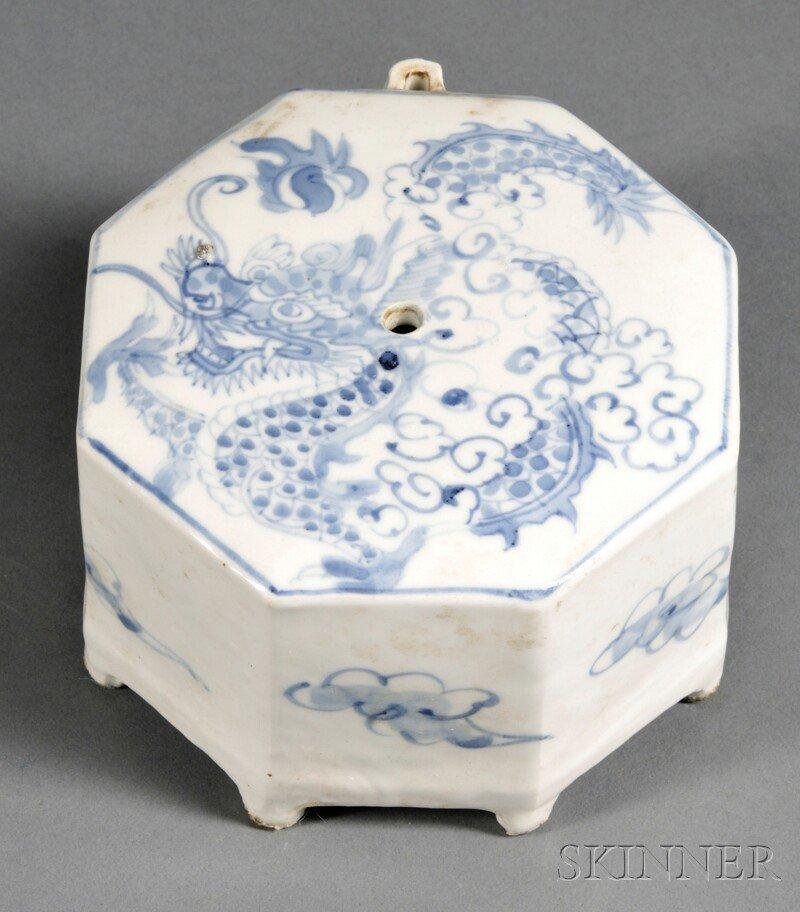 Blue and White Water Dropper, Korea, 20th century, octa