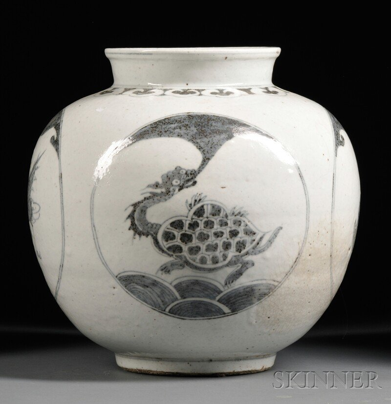 Large Vase, Korea, 19th/20th century, ovoid, with four
