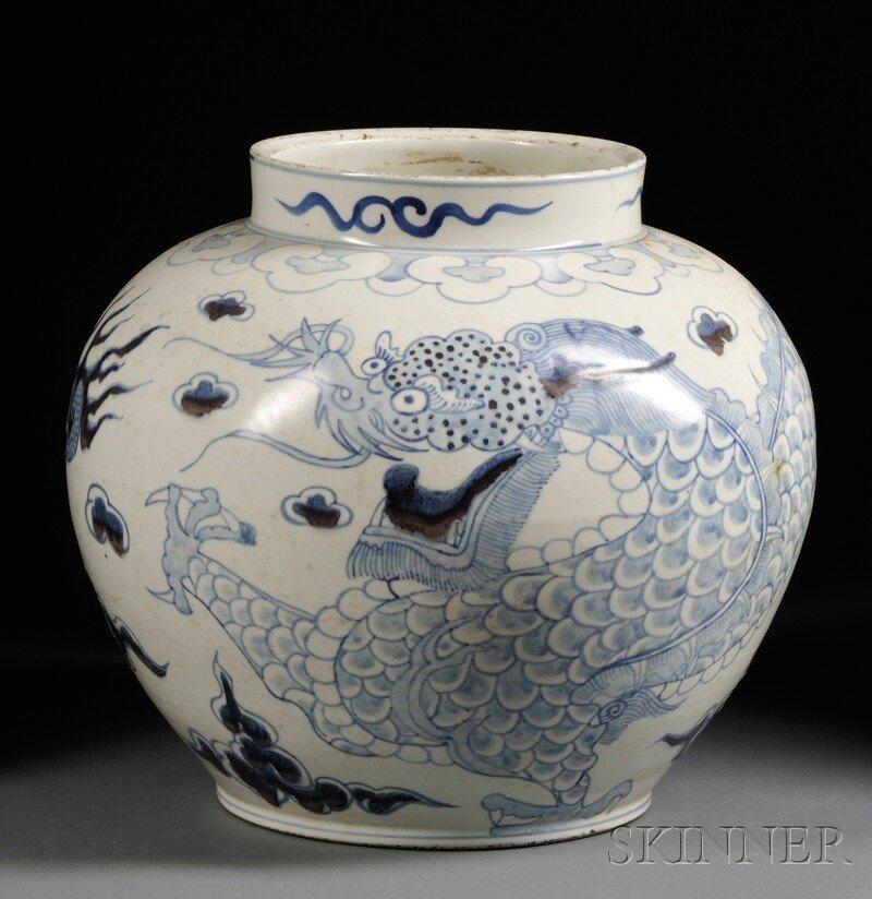 Large Dragon Jar, Korea, 19th century, ovoid, depicting