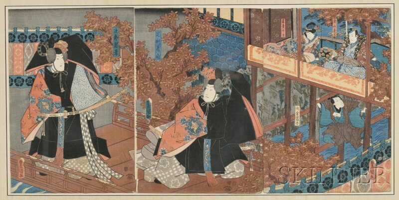 Woodblock Print, Japan, late 19th century, ink and colo