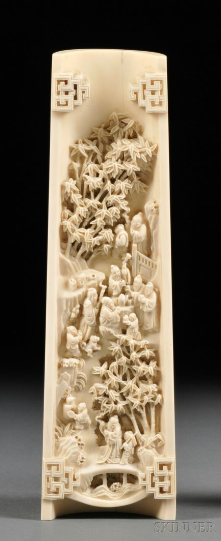 Ivory Wrist Rest, China, 19th century, top carved with