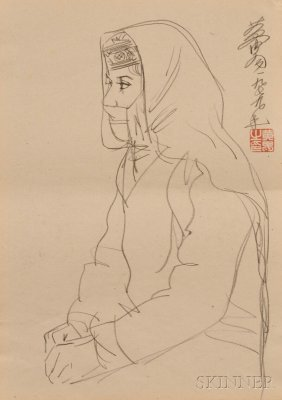 Loose Painting, China, Pencil On Paper, Depicting A Gir