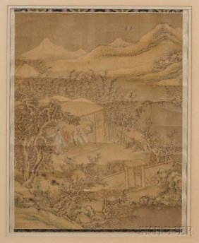 Framed Painting, China, Ink And Color On Silk, Depictin