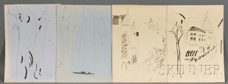 Set of Twelve Sketches, China, ink on paper, each depic