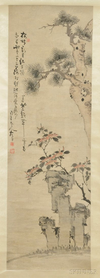 Hanging Scroll, China, ink and color on paper, depictin