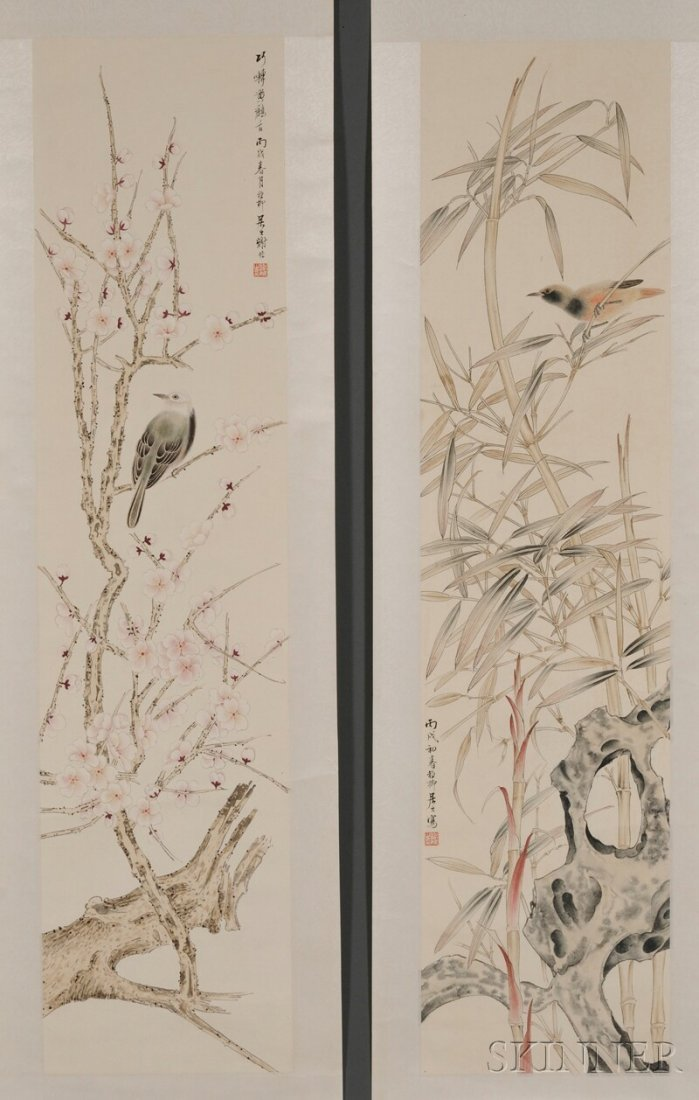 Pair of Loose Paintings, China, ink and color on paper,