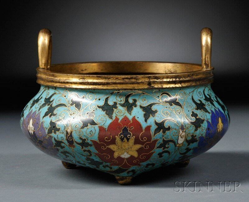 Cloisonne Censer, China, 18th century, the compressed b