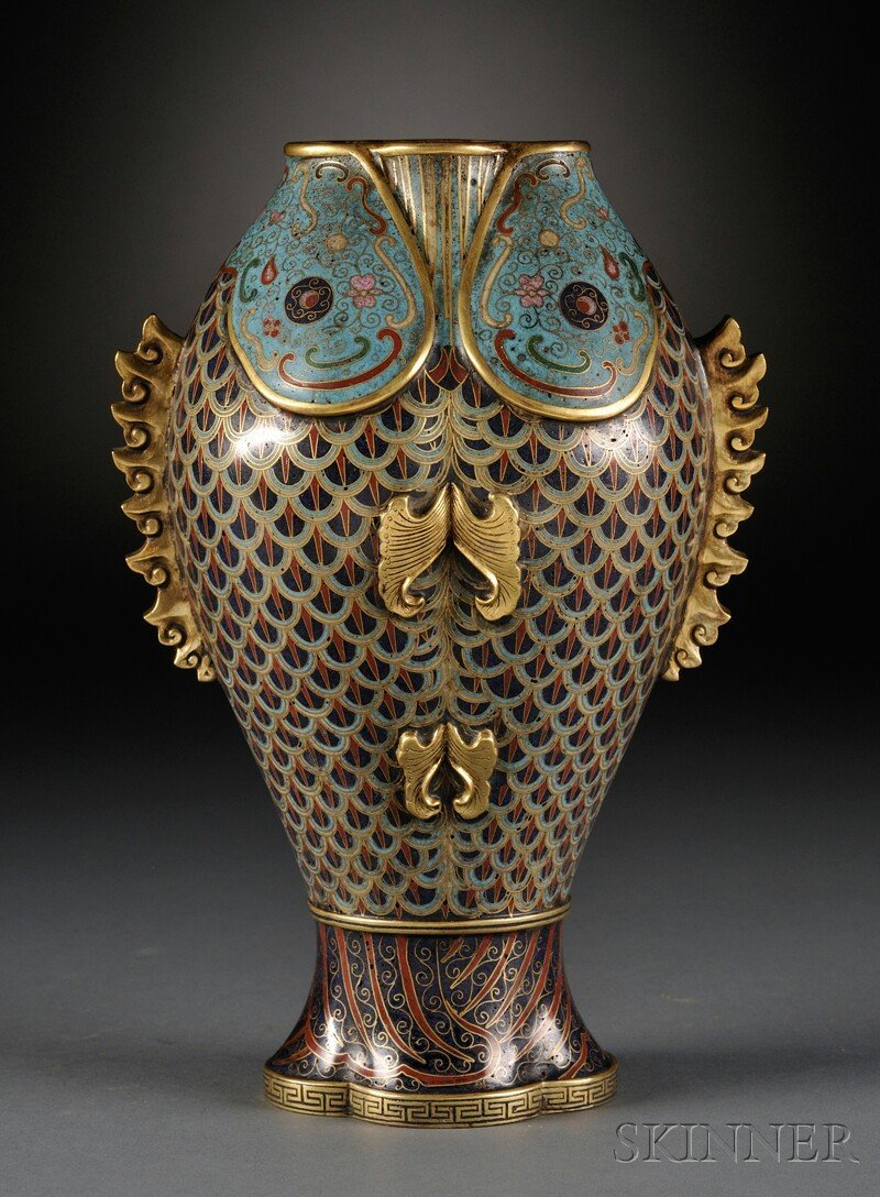 Cloisonne Double Fish Vase, China, 19th/20th century, t