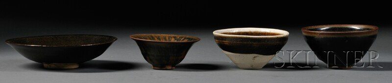 Four Temmoku Bowls, China, Sung dynasty (960-1279), two