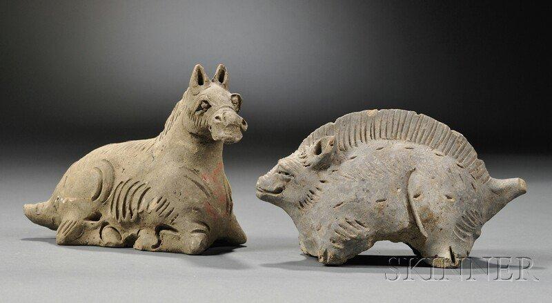 Two Ceramic Animals, China, Han dynasty (206 B.C.-220 A