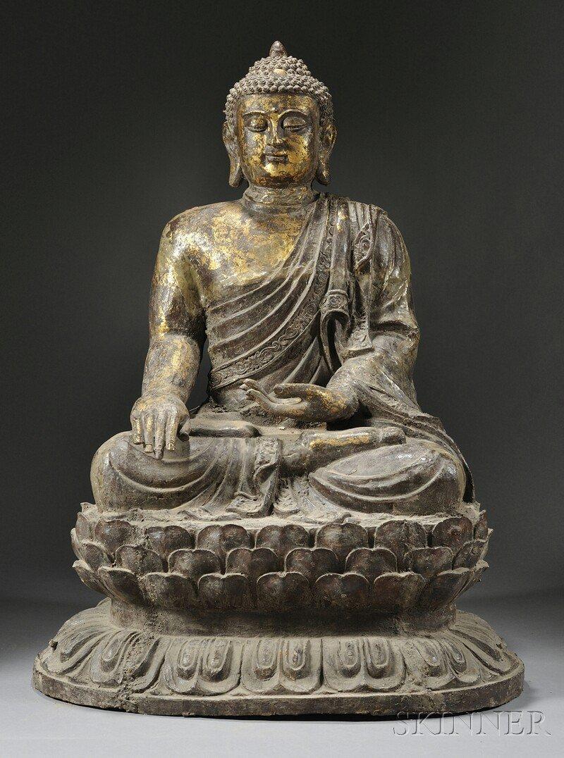 Large Seated Gilt-bronze Buddha, China, 19th\20th centu