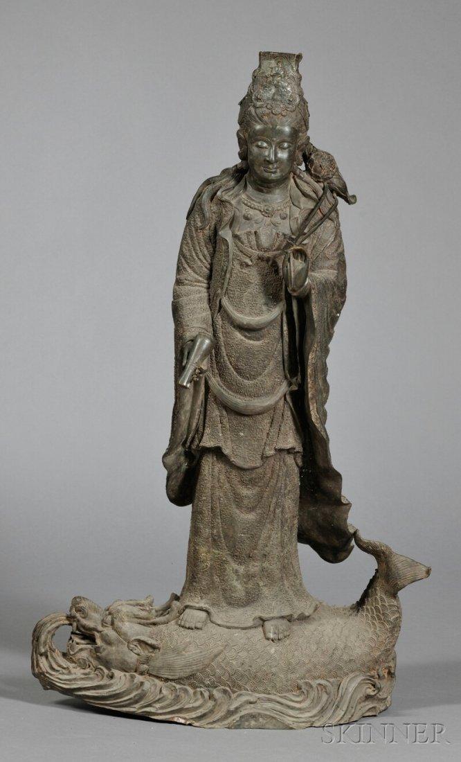 Bronze Kuan Yin, China, 19th/20th century, standing on